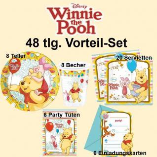 48tlg. Vorteil-Set Winnie the Pooh Kinder Geburtstag Party Deko Teller Becher