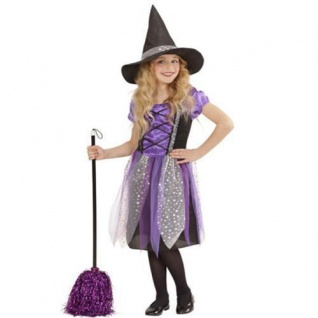 Mädchen Kostüm Hexe Kleid mit Hut lila edles Kinderkostüm Halloween 128 140 158