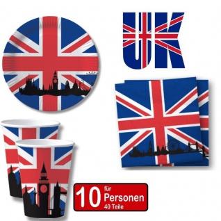 Großbritanien Great Britain 40 tlg. Länder Party Set- Becher Servietten Teller