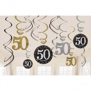 50. Geburtstag Party SWIRL GIRLANDE - schwarz gold - Raum Deko Goldene Hochzeit