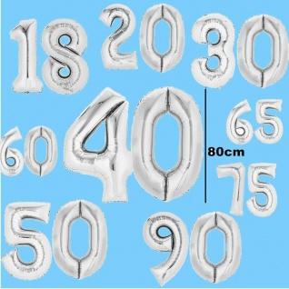 Gold 10 16 18 20 25 30 40 50 60 65 Folienballon Zahl Luftballon 36cm Silber