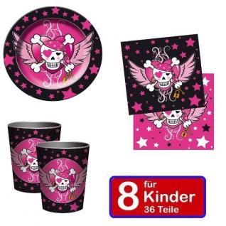 PIRATEN GIRL Mädchen Party Geburtstag Teller Becher Servietten - für 8 Kinder
