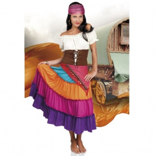 WOW Zigeunerin Damen Kostüm Gr. 44/46 (L/XL) Kleid, Gürtel, Kopftuch bunt #8777