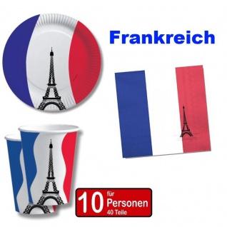 Frankreich France 40 tlg. Länder Deko Party Set - Becher Servietten Teller -