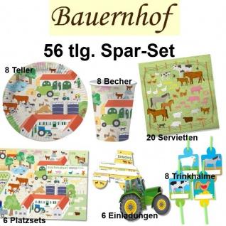 56tlg. Spar-Set BAUERNHOF Kinder Geburtstag Party - Teller Becher Trinkhalme DHK