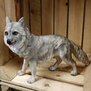Gartenfigur Wolf Tierfigur Wolf-Figur 36 cm Wolfswelpe Haus & Garten Deko #9880