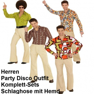 70er Jahre Herren SCHLAGHOSE + HEMD - Kostüm Disco Hippie Schlagermove Gr.48-56