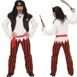 4 in 1 Pirat Piratenkostüm Shirt mit Weste, Hose, Gürtel, Kopftuch Herren Kostüm