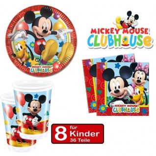 Partyset Micky Maus - Teller Becher Servietten - für 8 Kinder Geburtstag Mickey