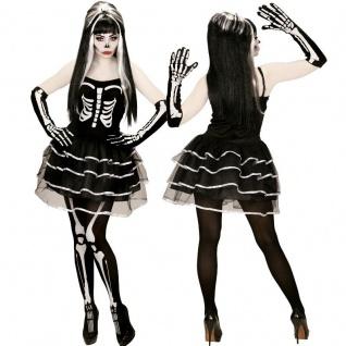 SKELETT LADY Damen Halloween Kostüm Skeleton Girl Tod 34 36 38 40 42 44 46