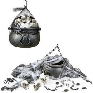 Halloween XL Deko Set Hexen Kessel mit 3 Totenköpfe Spinnennetz und viel Zubehör