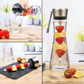 1 Liter Wasserkaraffe Glas Karaffe mit Deckel inkl. Früchtespieß & Spülbürste