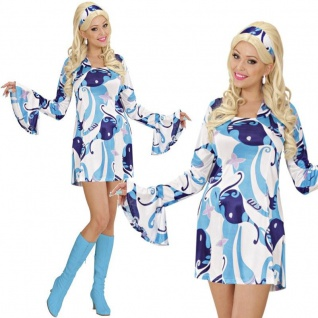 TOP 70er Jahre Hippie Retro Minikleid Gr. S 34/36 Damen Kostüm Disco Kleid #8041
