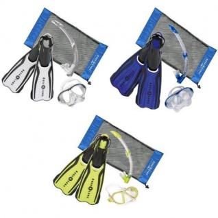 Amika Set Weiß Blau Gelb Mit Tasche Aqualung Schnorchel Flossen Taucherbrille