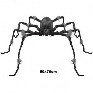 Große haarige Spinne schwarz/grau 50x70 cm Halloween Deko Grusel Karneval #2241