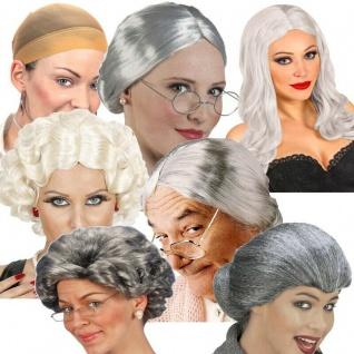WOW OMA PERÜCKEN grau silber weiß Großmutter Senioren Perücke für Karneval NEU