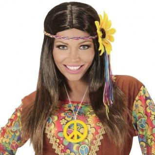 Damen Hippie Langhaar Perücke mit Haarband + Sonnenblume 70er Flower Power #4657