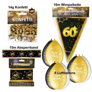 11 tlg. Party Deko Set 60. Geburtstag Party 60 Jahre Jubiläum schwarz gold Set 3