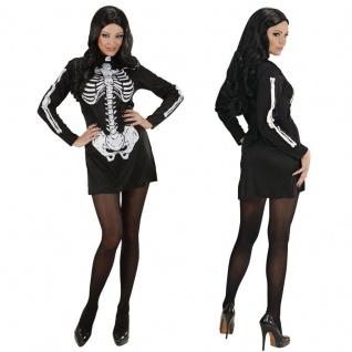 KOSTÜM SKELETT FRAU Damen Kleid Halloween Tod Karneval Fasching 34 36 38 40 42 4