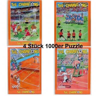 4 Stück 1000er Puzzle lustige Fun Sport Motive Fußball Tennis 1000 Teile Spass