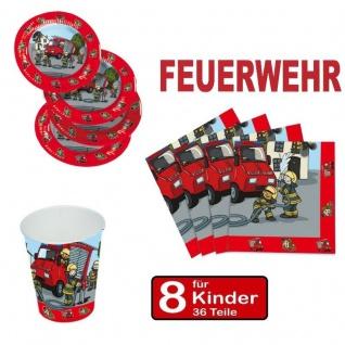 Party Set FEUERWEHR - Teller Becher Servietten - 8 Kinder Geburtstag TIP