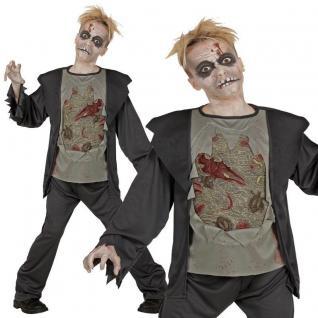 ZOMBIE Halloween Kinder Kostüm Horror - Jacke mit zerrissenem T-Shirt, Hose NEU