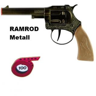 Revolver RAMROD Metall Gehäuse Knall Pistole Kinder Spielzeug Western 100 Schuss