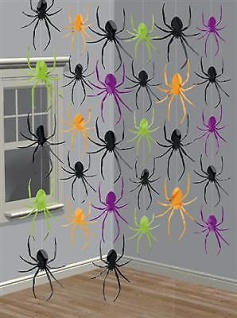 GIRLANDE SPINNEN 6x2, 13 m Halloween Raum Wand Deko Horror
