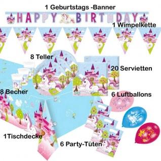 Kleines Einhorn 51 tlg. KINDER-GEBURTSTAG Party Teller Becher Servietten usw