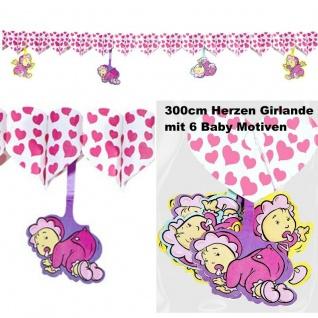 300cm GIRLANDE rosa Herz mit Babys GEBURT Mädchen Baby Party Deko Wimpelkette