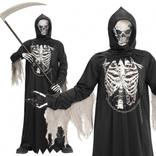 SENSENMANN Tod Grim Reaper Gr. 116 Kinder Kostüm - NEU Halloween Karneval #8675