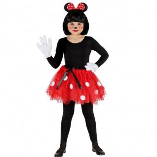 3-tlg Mini Maus Mäuschen-Set Kinder Kostüm Tutu und Haarreif mit Ohren Gr. 110