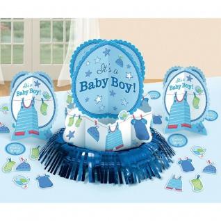 23tlg Tisch Deko Set Geburt Junge Baby Shower Party 3 Aufsteller + Konfetti #491