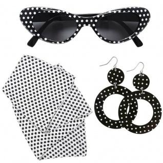 50er Rock'n Roll Rockabilly Schmuck-Set Kostüm Zubehör -Brille Ohrringe Halstuch