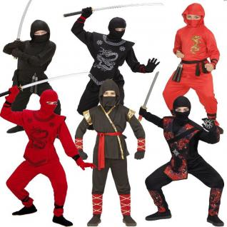 NINJA Fighter Kinder Jungen Kostüm Black Red Dragon Fire Dragon Samurai Ninjago
