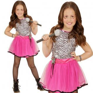 Mädchen Kostüm KLEINER POPSTAR Kinder Kleid Karneval Fasching Gr.116 128 140 158