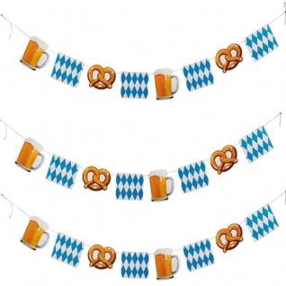 180cm Girlande Wimpelkette Oktoberfest Party Deko - mit Brezel Bierkrug #4149