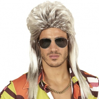 VOKUHILA PERÜCKE 80er 90er blond Mullet Proll Rocker Herren Kostüm Party #4652