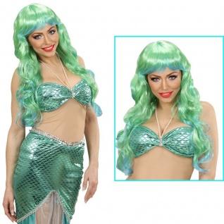 Perücke Meerjungfrau Langhaar grün Märchen Nixe Damen Kostüm Show Fantasy #405