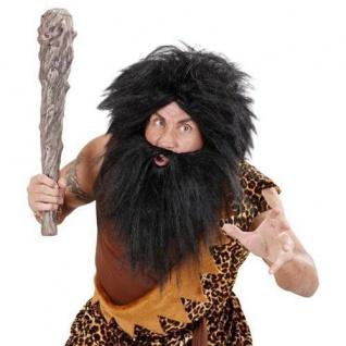 Neandertaler Perücke mit Vollbart -schwarz- Steinzeit Urzeit Wilder Kostüm 7030
