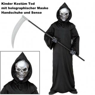 Tod Grim Reaper Kinder Kostüm mit holographischer Maske und Sense Komplett-Set