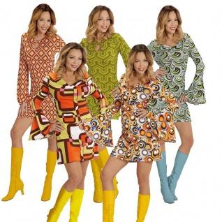 TOP Damen Hippie Retro Kostüm 60er 70er Jahre Pop Disco Kleid Groovy Minikleid