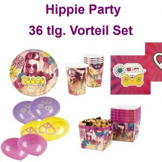 36 tlg Vorteil Set Hippie 60er 70er Flower Power Party Teller Becher Servietten