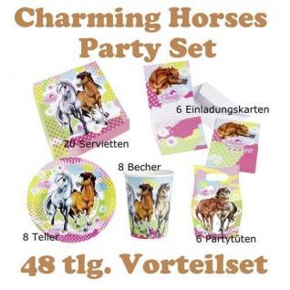 48 tlg. Set charming Horses 2 Kinder Geburtstag Party Deko, Tischdecke, Teller, - Vorschau