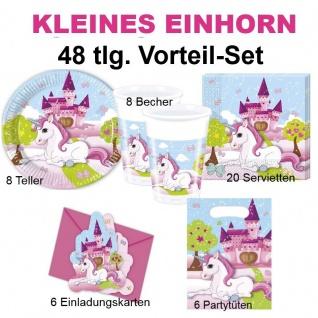 48tlg. Vorteil-Set Kleines EINHORN Kinder Geburtstag Party Deko Teller Becher