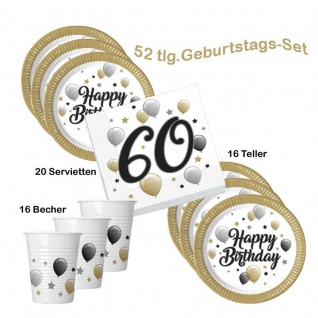Party-Set 60 Geburtstag Happy Birthday 16 Becher 20 Servietten 16 Teller