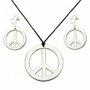 Peace Kette mit Ohrringen (Ohrclips) silber , Hippie Schmuck Flower Power Party