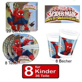 36 tlg. SPIDERMAN Web Warriors Party Deko Set Kindergeburtstag für 8 Kinder