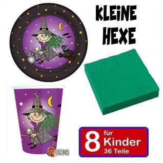 KLEINE HEXE Kinder Geburtstag Halloween - Teller Becher Servietten 8 Kinder