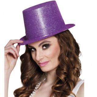 Glitzer Zylinder Hut - Violett - Damen & Herren Show Silvester Karneval Fasching